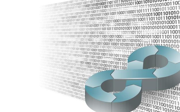 Devops softwareentwicklungsoperationen infinity-symbolprogrammierer verwaltung hud-anzeigesystemcodierung gebäudetests release-überwachung online-freiberufler-vektorillustration