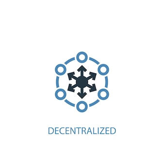 Dezentrales konzept 2 farbiges symbol. einfache blaue elementillustration. dezentrales konzeptsymboldesign. kann für web- und mobile ui/ux verwendet werden