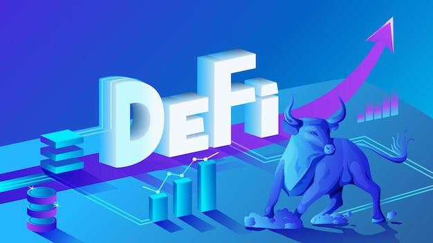 Dezentralisierte finanzen defi bull-trend, isometrische zusammensetzung von kryptowährung und blockchain. bullischer markt, charts und aufwärtspfeile. vektor-illustration