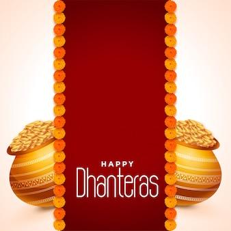 Dhanteras festivalkarte mit goldenen töpfen