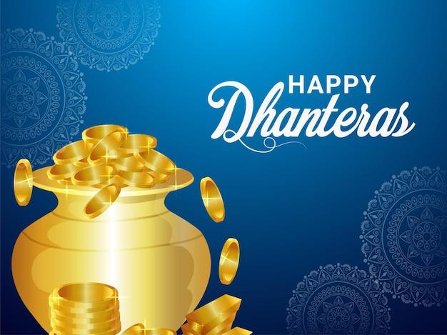 Dhanteras indische festivaleinladungsgrußkarte mit vektorillustration des goldmünzentopfes