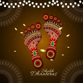 Dhanteras indische festivalfeier grußkarte