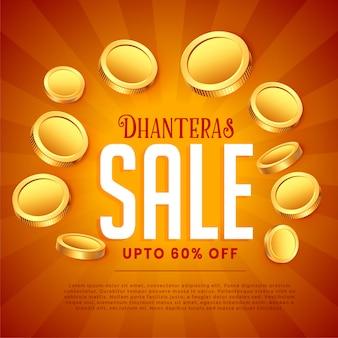 Dhanteras verkauf mit goldenen münzen