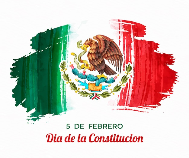 Día de la constitución mit aquarellfahne