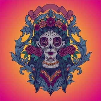 Dia de los muertos. abbildung von mexikanischem catrina