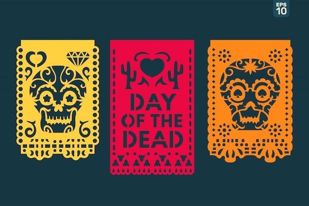 Dia de los muertos bedeutet tag der toten. traditionelle mexikanische papierschneideflaggen