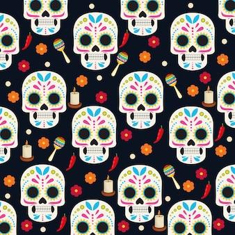 Dia de los muertos feierplakat mit schädelköpfen und blumengruppenmustervektorillustrationsdesign