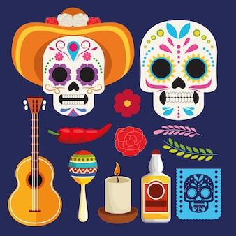 Dia de los muertos feierplakat mit schädelpaar und instrumentenvektorillustrationsdesign
