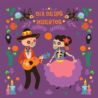 Dia de los muertos grußkarte zum tag der toten