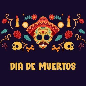 Día de los muertos hintergrund mit bunten elementen