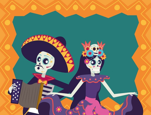 Dia de los muertos karte mit mariachi spielt akkordeon und catrina