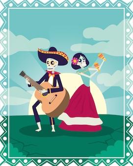 Dia de los muertos karte mit mariachi spielt gitarre und catrina