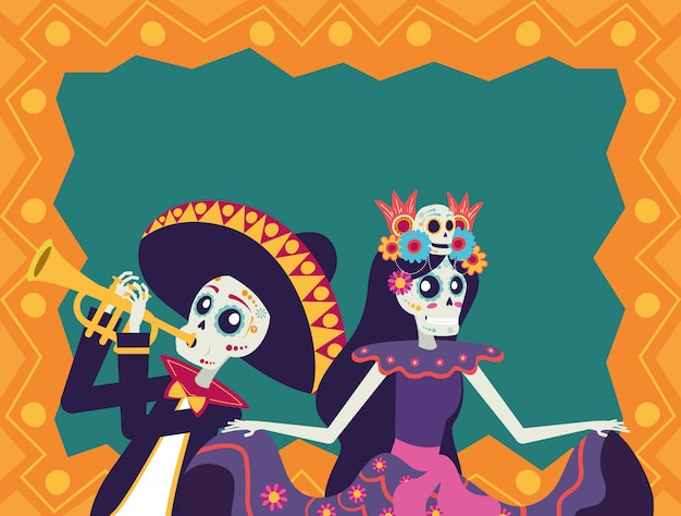 Dia de los muertos karte mit mariachi spielt trompete und catrina