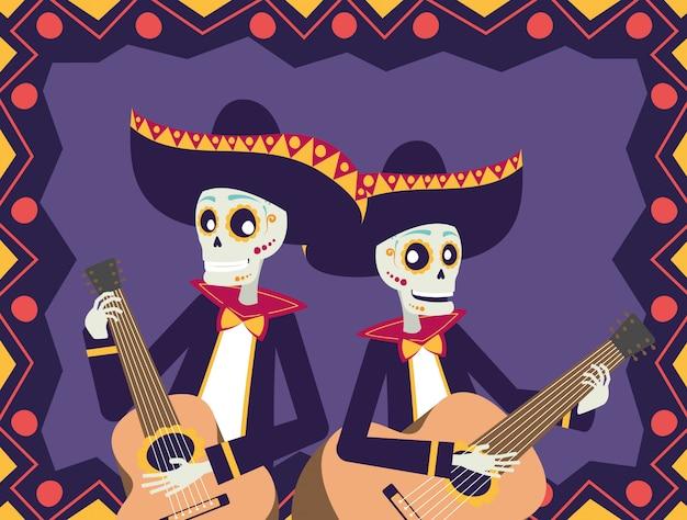 Dia de los muertos-karte mit mariachis-schädeln, die gitarren spielen