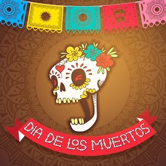 Dia de los muertos mexikanische weihnachtsfeier und day of dead fiesta-feier