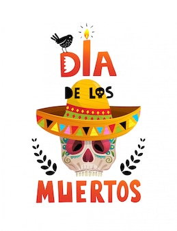 Dia de los muertos mexikanischer feiertagsschädel-plakatentwurf.