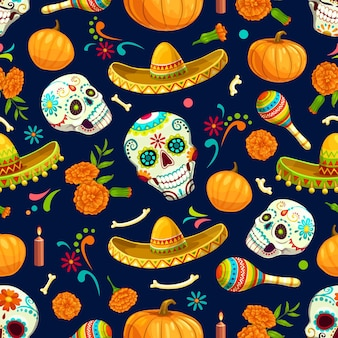 Dia de los muertos mexikanischer vektor nahtloses muster