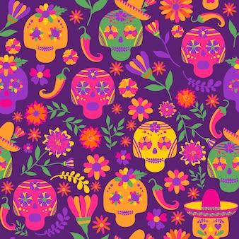 Dia de los muertos nahtloses vektormuster. die hauptsymbole des feiertags auf dem dunklen ba