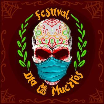 Dia de los muertos oder tag der toten festivalvektorillustration