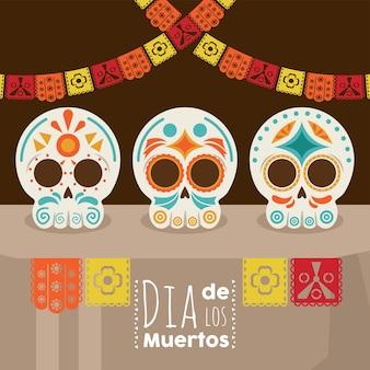 Dia de los muertos plakat mit kopfschädeln und girlanden