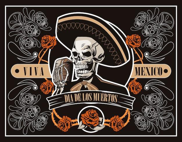 Dia de los muertos plakat mit mariachi-schädel, der mit mikrofon im braunen plakatvektorillustrationsentwurf singt