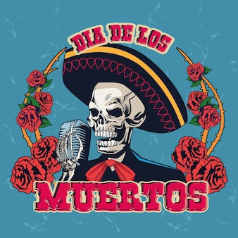 Dia de los muertos plakat mit mariachi schädel singen mit mikrofon und rosen vektor-illustration design