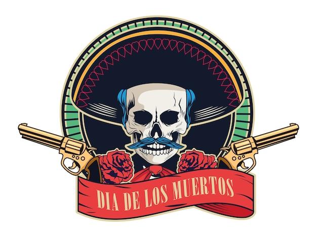 Dia de los muertos-plakat mit mariachi-schädel und kanonen gekreuzt im bandrahmenvektorillustrationsentwurf