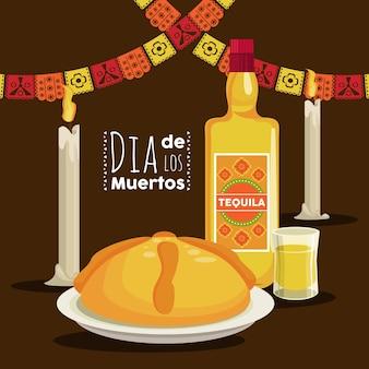 Dia de los muertos poster mit tequila-flasche und girlanden