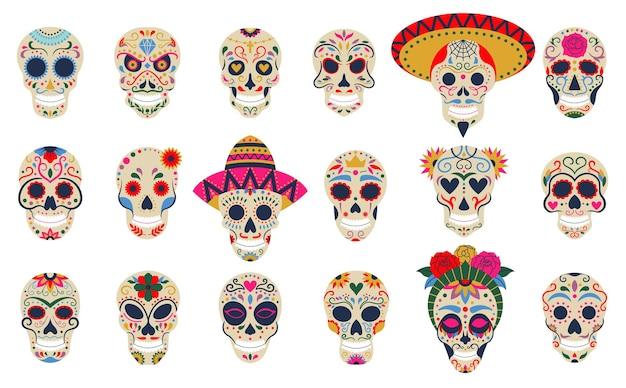 Dia de los muertos schädel. tag der toten festivalschädel, floraler zucker menschlicher kopfknochen vektorsymbole gesetzt. mexikanische todesfeiertagsdekoration. skeletturlaub mexikanisch, kultur dia de los muertos