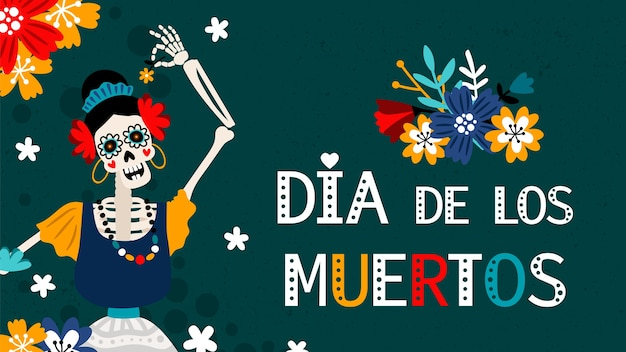 Dia de los muertos. tag der toten im spanischen, traditionellen mexikanischen festivalfarbplakat mit weiblicher skelettvektorillustration