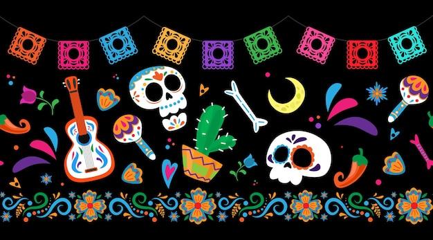 Dia de los muertos tag der toten nahtlose grenzmuster