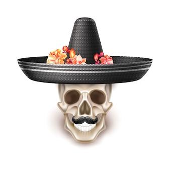 Dia de los muertos tag des toten realistischen schädels mit schnurrbart, schwarzer hut mit blumen