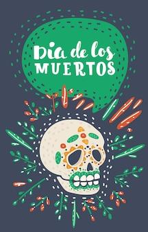 Dia de los muertos tag des toten zuckerschädels