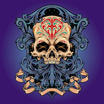 Dia de los muertos totenkopf-rahmen-ornamente vektorillustrationen für ihre arbeit logo, maskottchen-waren-t-shirt, aufkleber und etikettendesigns, poster, grußkarten, werbeunternehmen oder marken.