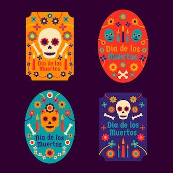 Dia de muertos abzeichensammlung in flachem design