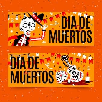 Dia de muertos banner in flachem design