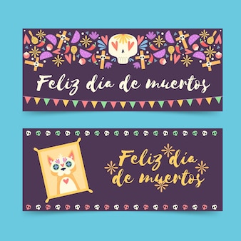 Día de muertos banner in flachem design