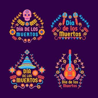 Dia de muertos etikettenkollektion in flachem design