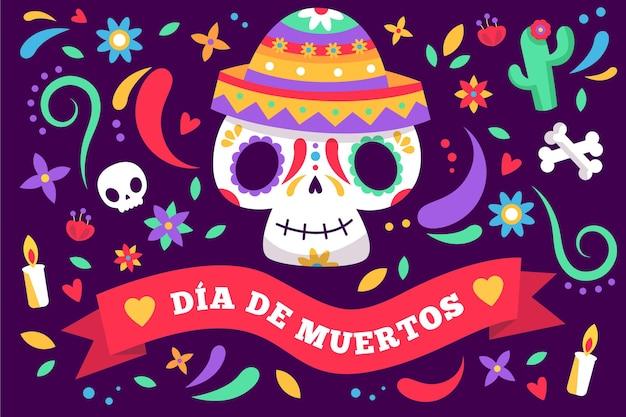 Dia de muertos hintergrund im flachen design