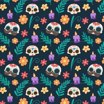 Día de muertos hintergrund im flachen design