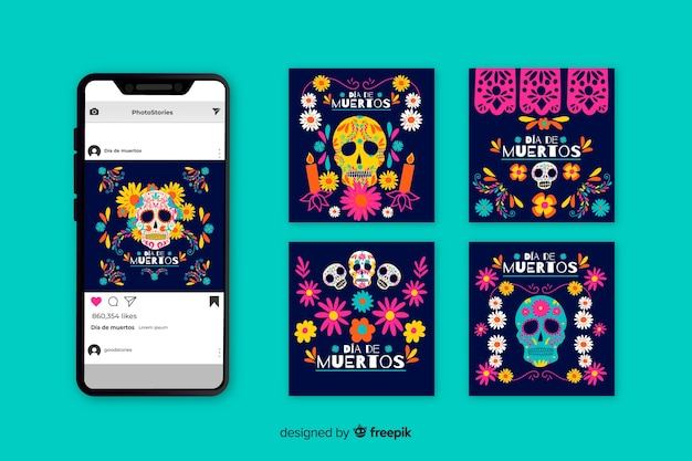 Dia de muertos instagram post collection