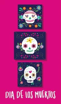 Dia de muertos karte mit schriftzug und totenköpfen