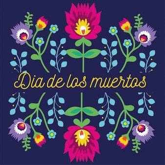 Dia de muertos-kartenbeschriftung mit blumengartendekoration