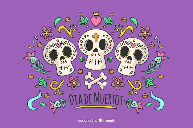 Dia de muertos konzept in der hand gezeichnet