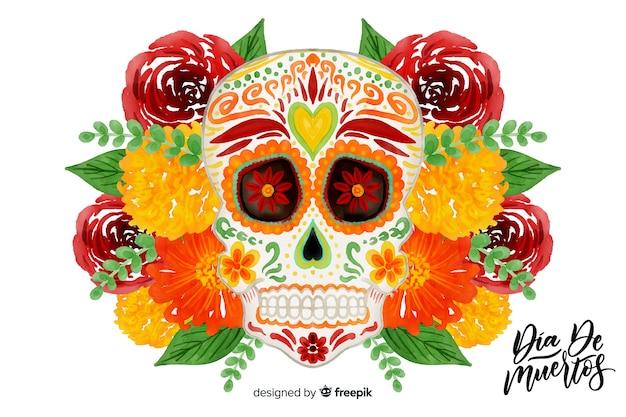 Día de muertos-konzept mit aquarellhintergrund