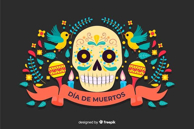 Día de muertos-konzept mit flachem designhintergrund