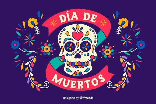 Día de muertos-konzept mit hand gezeichnetem hintergrund