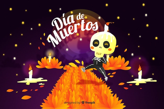 Dia de muertos-konzept mit hand gezeichnetem hintergrund