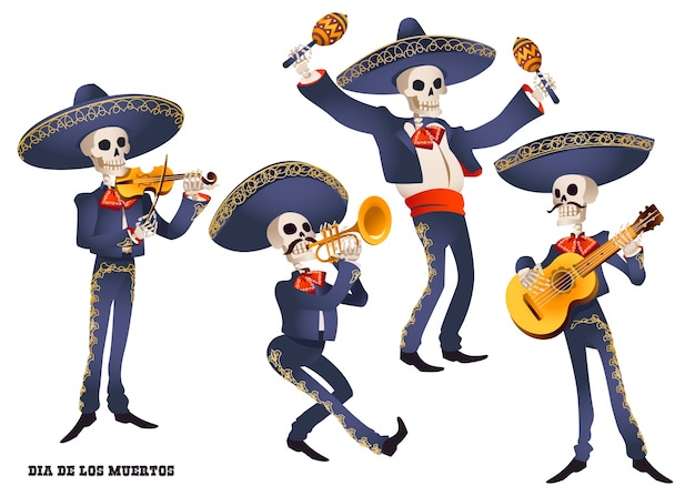 Dia de muertos. mariachi band musiker von skeletten. mexikanische tradition.
