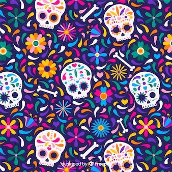 Dia de muertos muster im flachen design